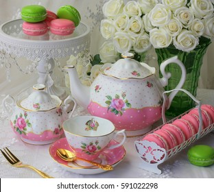 Pink and white afternoon tea