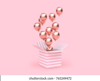 pink white box open rose gold metallic balloon floating minimal pink background