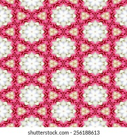 Pink white decorative kaleidoscope mosaic with star shapes and pink ribbons.