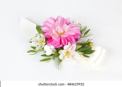 Corsage images stock photos vectors shutterstock pink white and green wrist corsage isolated on white background mightylinksfo