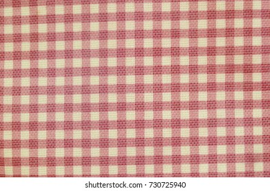 pink and white grids fabric bag background and texture