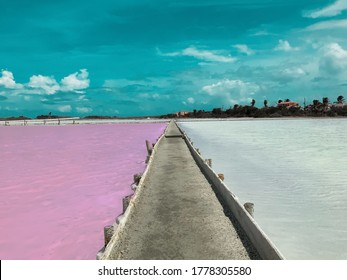 PINK AND WHITE SALT FLATS IN THE SOUTHERN CITY OF CABO ROJO IN PUERTO RICO