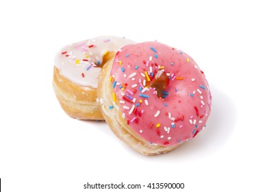 Pink and White Sprinkled Donuts isolated on white background