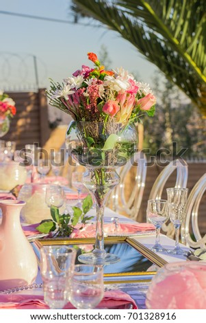 Pink White Table Decorations Outdoor Garden Stock Photo Edit Now