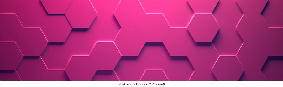 Pink Wide Hexagon Background (Site head) (3d illustration)