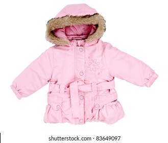 pink winter jacket with fur baby on the hood isolated on a white background