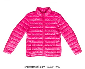 Pink winter jacket, isolated on white