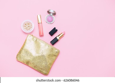 pink woman accessories mock up flat lay. pink background