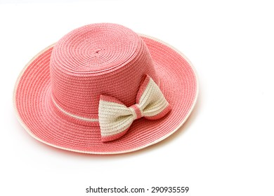 Pink women hat with isolated on white background-2