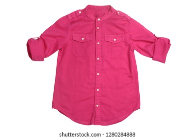 Pink women shirt isolated on white background