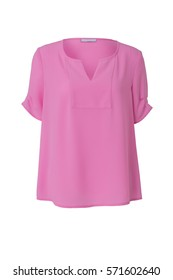 Pink women's blouse isolated on white background