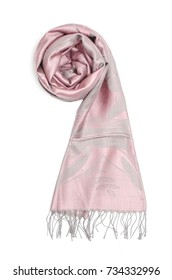 pink women's scarf isolated on white