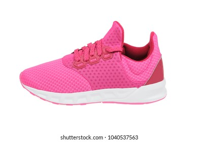 Pink womens sport, running shoe, isolated on white background
