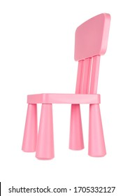 Pink wooden chair for children isolated on white background.