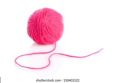 Pink Yarn Ball on white background