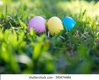 Pink yellow and blue colored eggs on green grass, outdoor blurry foreground