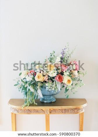 Pink Yellow Flower Arrangement On Gold Stock Photo Edit Now
