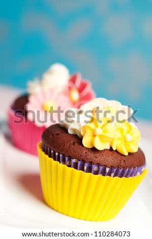 Pink Yellow Flower Cupcakes Wedding Valentine Stock Photo Edit Now