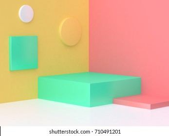 pink yellow green scene colorful abstract corner minimal background 3d render