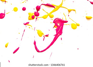 Pink Yellow and Orange Messy Paint Splatters on White Background