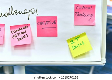 Pink and yellow paper stickers attached to a flip chart on a whiteboard
