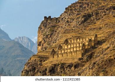 Pinkuylluna, Inca storehouses in the Sacred Valley. Ollantaytambo, Peru.