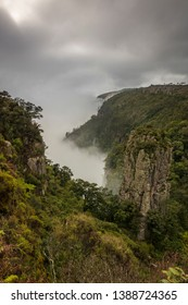 Pinnacle Rock near Graskop in South Africa during heavy fog. Pinnacle rock is in the Blyde river Canyon.