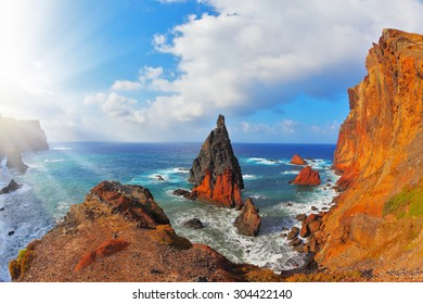 Pinnacles covered sunset. Eastern tip of the island of Madeira in the Atlantic Ocean