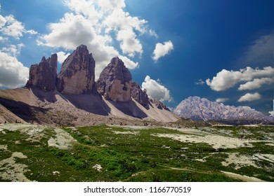 Pinnacles of the Drei Zinnen - Tre Cime di Laveredo peaks in the Dolomites Alps, Italy