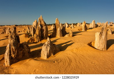 The Pinnacles of Nambung National Park are natural limestone structures, some standing as high as five metres. They were formed approximately 25,000 to 30,000 years ago.