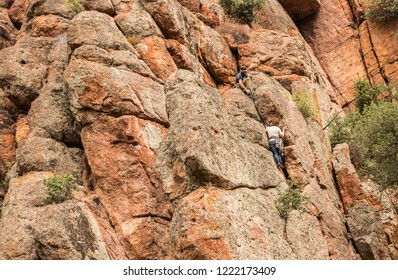 Pinnacles National Park, Pacines, California, USA - October 11, 2018: Rock Climbing at Pinnacles National Park, California, USA.
