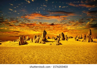 Pinnacles a natural attraction of Western Australia in the Nambung National Park. There are amazing limestone structures some standing over 5 meters high