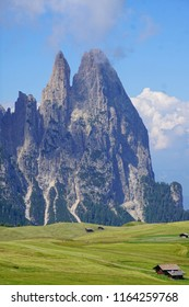 Pinnacles of Schlern in the Seiser Alm meadows of the Dolomites Alps, Italy