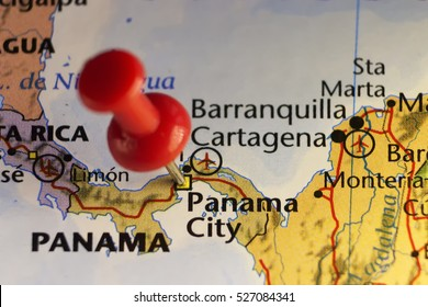 Pinned map Panama city. Copy space available.