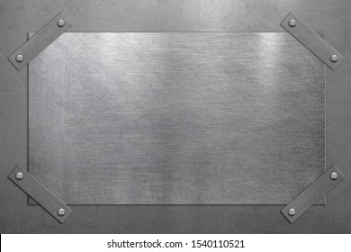 Pinned metal plate note on steel background