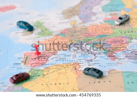Pinned On Map Madrid Spain Miniature Stock Photo (Edit Now ...