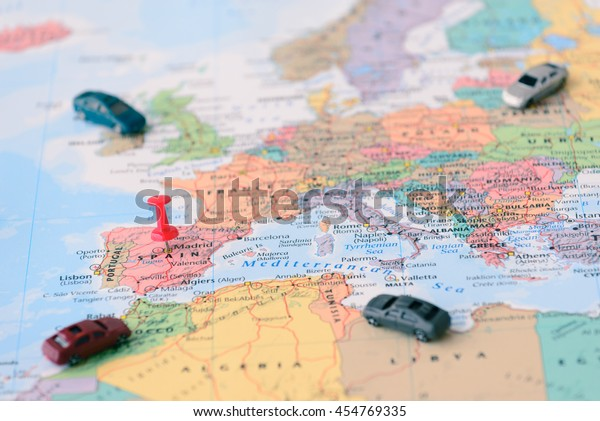 Pinned On Map Madrid Spain Miniature | Royalty-Free Stock Image