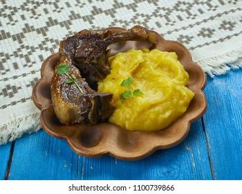 Pinnekjot  -  Lamb Ribs is mashed swede or turnip., Christmas dinners eaten in Norway.