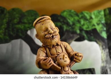 Pinocchio child, father Pinocchio, joyful Pinocchio, cheerful Pinocchio, wooden toy