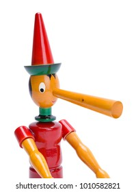 Pinocchio Close Up with Long Nose Isolated on a White Background.