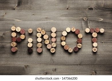 """""""PINOT"""" written with corks"""