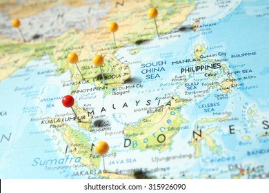 Pins on map with focus on Kuala Lumpur city, Malaysia