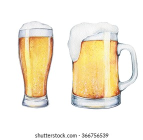 A pint of beer and a glass (mug) of beer hand drawn in watercolor. Alcohol drinks