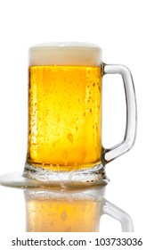 Pint of beer on white background