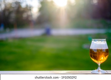 Pint of beer in sunset