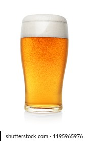Pint of fresh beer with foam isolated on white background