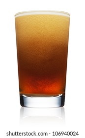 Pint glass of refreshing amber beer with bubbles and head