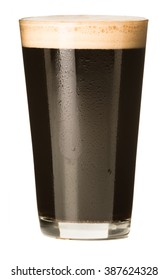 Pint glass of stout beer isolated on a white background