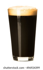 Pint glass of strong dark porter stout beer isolated on white background