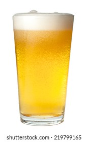 Pint of light beer on white background